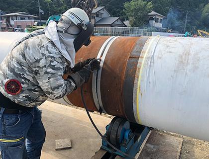 鋼管杭、鋼管⽮板溶接
